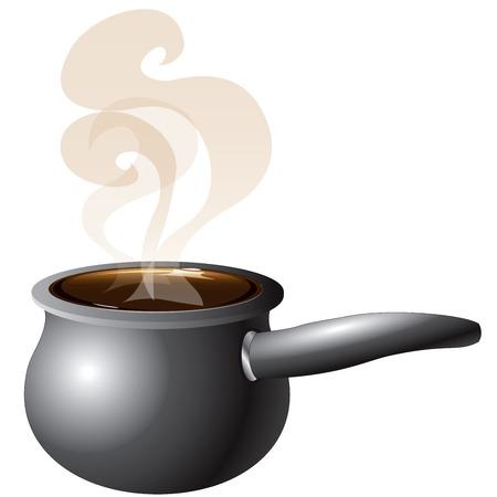 vapore acqueo: Illustrazione di una pentola fumante con il fumo. Vettoriali