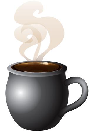 Vector Illustratie van koffie, thee of warme chocolademelk mok dampende met rook. Stock Illustratie