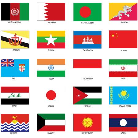 世界のさまざまな国の国旗のイラスト。