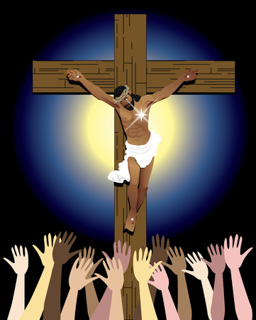 latin american boy: Vector Illustration showing the power of the holy spirit, Jesus Christ on cross. Easter Resurrection Stock Photo