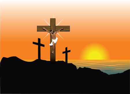 Vector Illustration of Jesus Christ on cross. Easter Resurrection. illustration