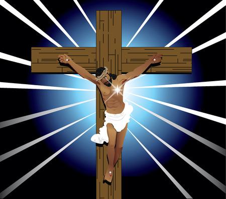 Vector Illustration of Jesus Christ on cross. Easter Resurrection. Imagens
