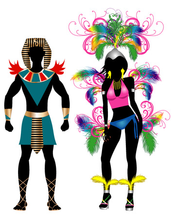 trini: Vector Illustration Colorful Couple for Carnival Costume Silhouettes with a man and a woman. Stock Photo