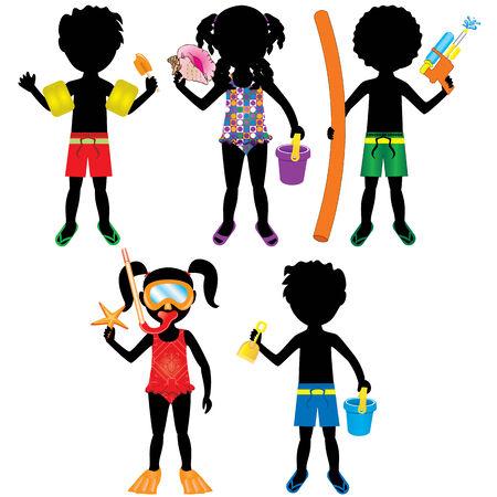 spring break: Vector Illustration of 5 different summer kids dressed for beach or pool. Stock Photo