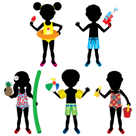ponytails: Vector Illustration of 5 different summer kids dressed for beach or pool. Stock Photo