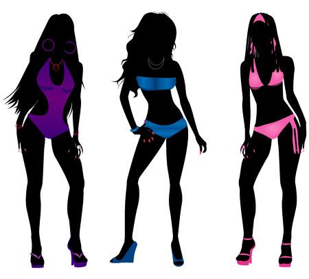 caribbean party: Vector Illustration of three different swimsuit silhouette women in bikini and monokini swimwear.