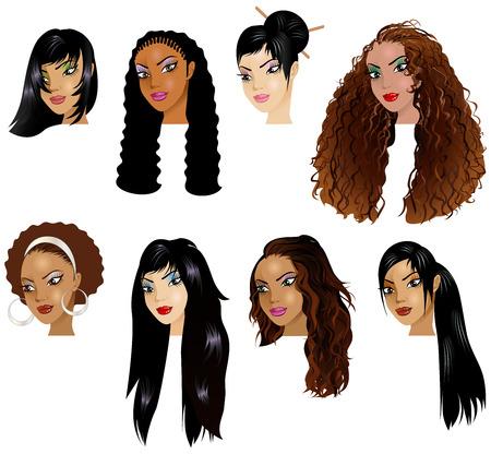 아시아, 히스패닉계 여자 얼굴의 벡터 일러스트 레이 션. 아바타, 메이크업, 피부 색조 또는 짙은 색의 여성용 헤어 스타일에 적합합니다.
