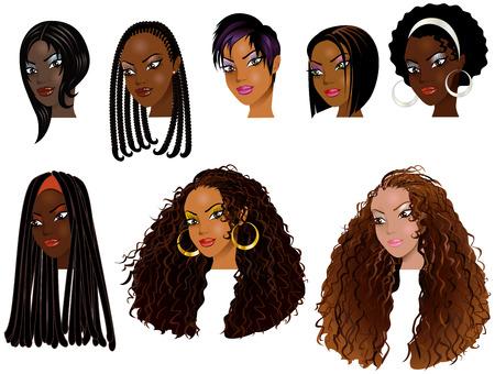 흑인 여성의 벡터 일러스트 레이 션의 얼굴. 아바타, 메이크업, 피부 색조 또는 아프리카 여자의 머리 스타일. 스톡 콘텐츠