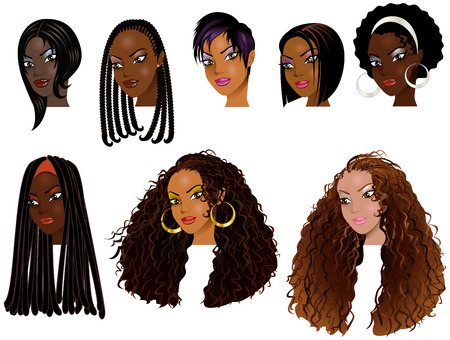 plait: Vector Illustration of Black Women Faces. Great for avatars, makeup, skin tones or hair styles of African women. Stock Photo