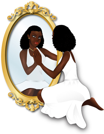 woman in mirror: Vector Illustration of a woman seeing her reflection with confidence.