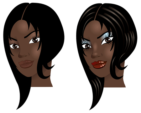 jamaican ethnicity: Illustration of a woman with little or no makeup, natural before and after styling.