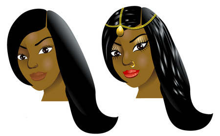 light brown hair: Illustration of a woman with little or no makeup, natural before and after styling.