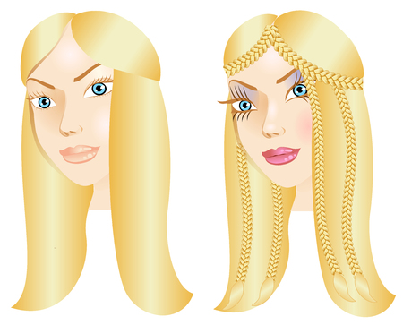 Illustration of a woman with little or no makeup, natural before and after styling.