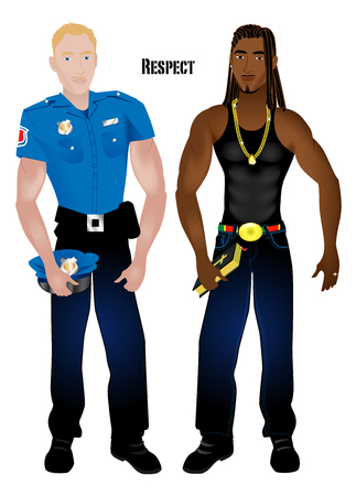 dreads: Illustration of a black man and a white cop. May be used for editorial use.
