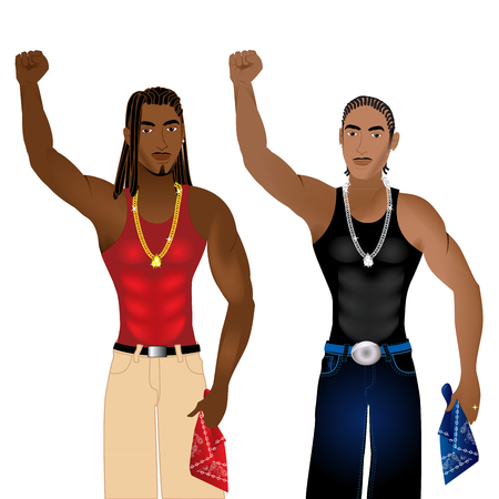 nonviolent: Illustration of two gangs standing in unity in a nonviolent protest for justice.