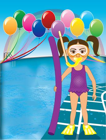 enfant maillot de bain: Illustration de Snorkel Fille au bord de la piscine avec des ballons. Voir de nombreuses autres variantes.
