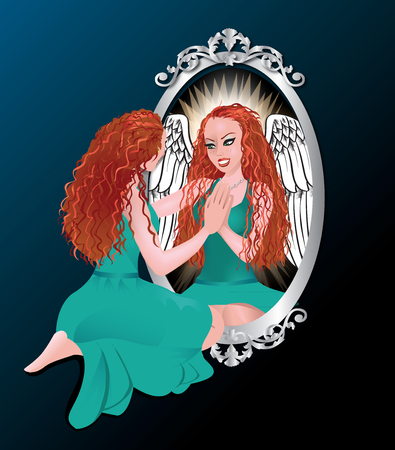 glass reflection: Illustration of a woman seeing her reflection with confidence. Illustration