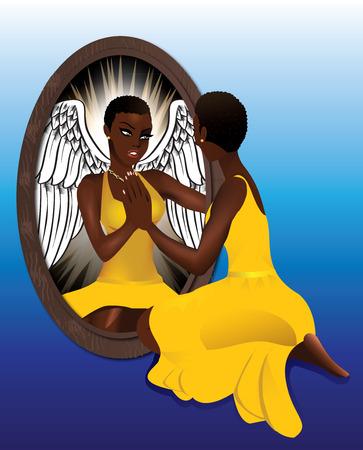 Illustratie van een vrouw het zien van haar reflectie met vertrouwen tegemoet.