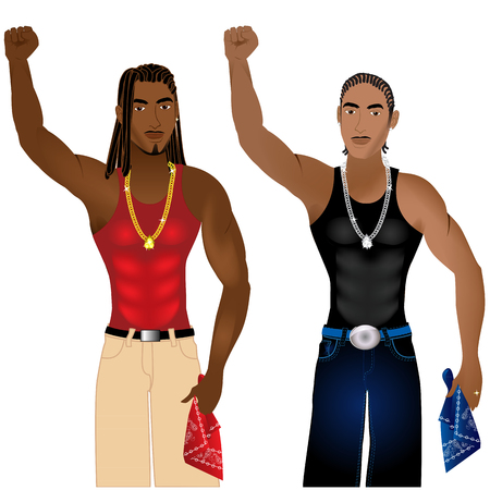 nonviolent: Vector Illustration of two gangs standing in unity in a nonviolent protest for justice.