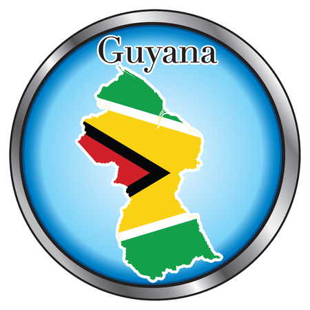Vector Illustration for Guyana, Round Button.