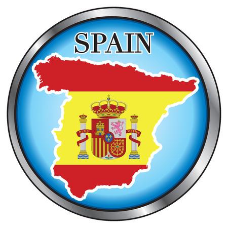 Vector Illustration for Spain, Round Button. Ilustração