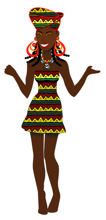 sassy: Vector of African Party Girl with cute dress. Illustration