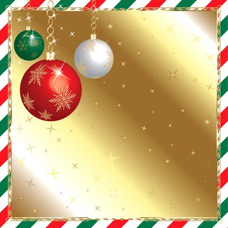 Vector Illustration of a Christmas Green and Red Striped Background with Ornaments.