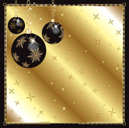 Vector Illustration of a Christmas Black Gold Ornaments.