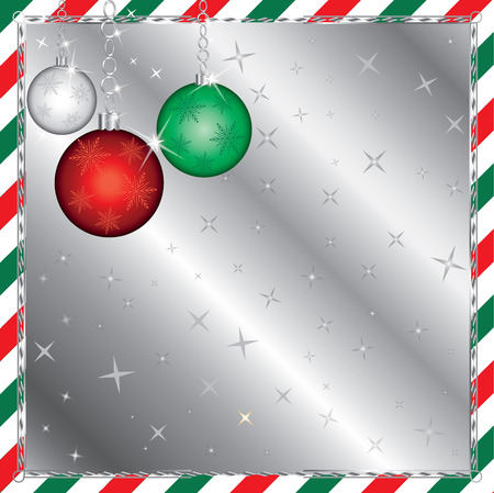 platinum: Vector Illustration of a Christmas Green and Red Striped Background with Ornaments.
