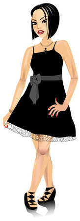 Vector Illustration of Asian woman with black Bow dress.