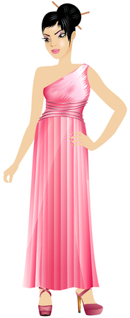 chinese ethnicity: Vector Illustration of Asian woman with pink dress and red wine.