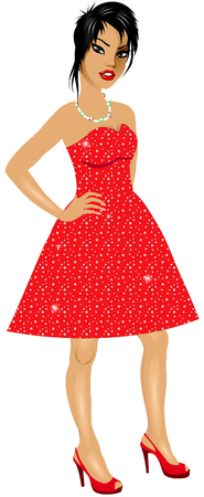 chinese ethnicity: Vector Illustration of Asian woman with red sparkle dress and red heels. Illustration
