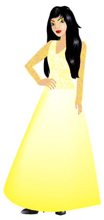 Vector Illustration of Asian woman with yellow long gown