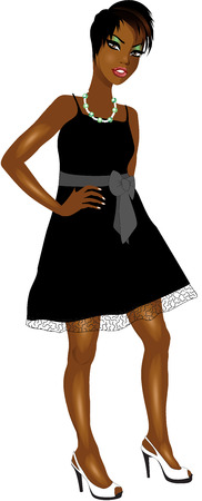 Vector Illustration of Black woman with black Bow dress.