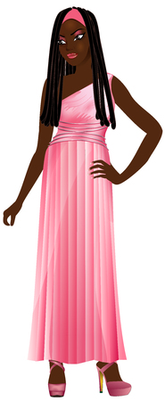 Vector Illustration of black woman with pink gown. Illustration