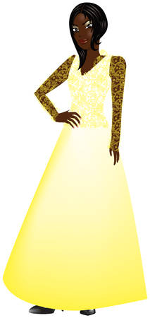 Vector Illustration of black woman with yellow gown.