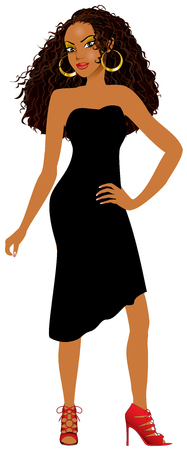 ethiopian ethnicity: Vector Illustration of Mixed woman with black dress and red heels.