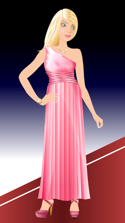 prom night: Vector Illustration of white woman with pink dress on red carpet.