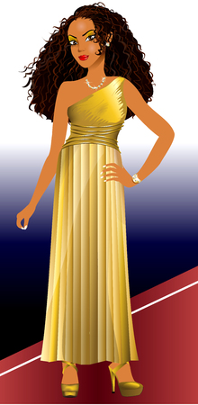 ethiopian ethnicity: Vector Illustration of mixed woman with gold dress and red carpet.