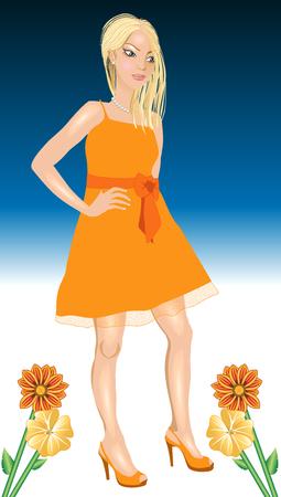オレンジのドレスと花ベクトル図の黒の女。