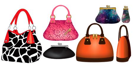 Vector illustratie van verschillende portemonnees en handtassen.