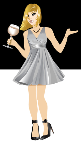 Vector Illustration of Black woman with silver dress and wine. Illustration