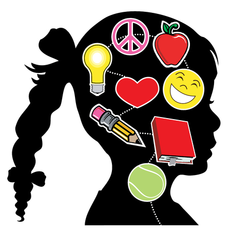 Vector Illustration of a young girl with healthy mind elements. Great Mental Health. Illustration