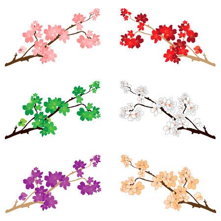 Ilustración vectorial de varias flores y flores. Foto de archivo - 82562711