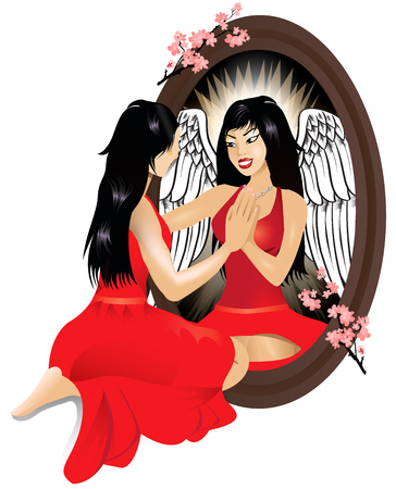 self conceit: Vector Illustration of a woman seeing her reflection with confidence.