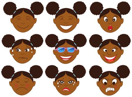 Ilustración vectorial de un niño con varias caras de emoción. Ideal para emoticonos Emoji o pegatinas.