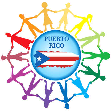 Vector Illustration to Help Puerto Rico with a bandage to heal. Hurrucane Irma and Hurricane Maria hit Puerto Rico in September 2017.  イラスト・ベクター素材