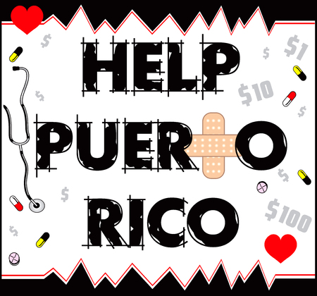 Vector Illustration to Help Puerto Rico with a bandage to heal. Hurrucane Irma and Hurricane Maria hit Puerto Rico in September 2017. Ilustração