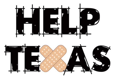 Vector Illustration to Help restore Texas after mass shootings and Hurricane damage.