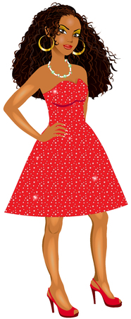 Vector Illustration of Mixed woman with red sparkle dress and red heels.